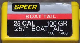 SPEER 25 CALIBER BOAT TAIL